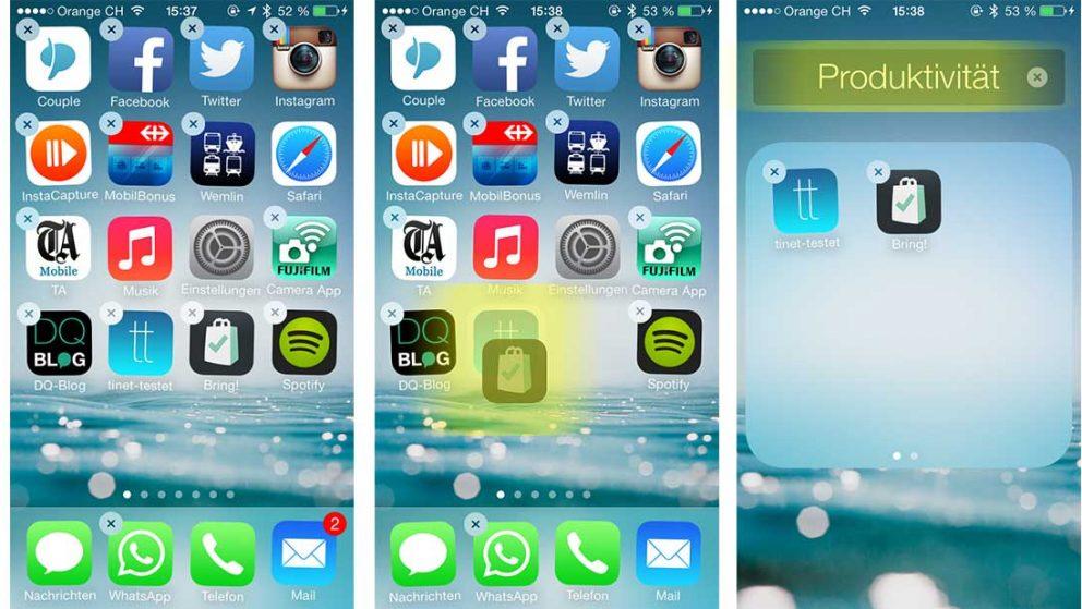 Das Bild zeigt drei Screen Shots vom iPhone und veranschaulicht das Verschieben von Apps in einen Ordner