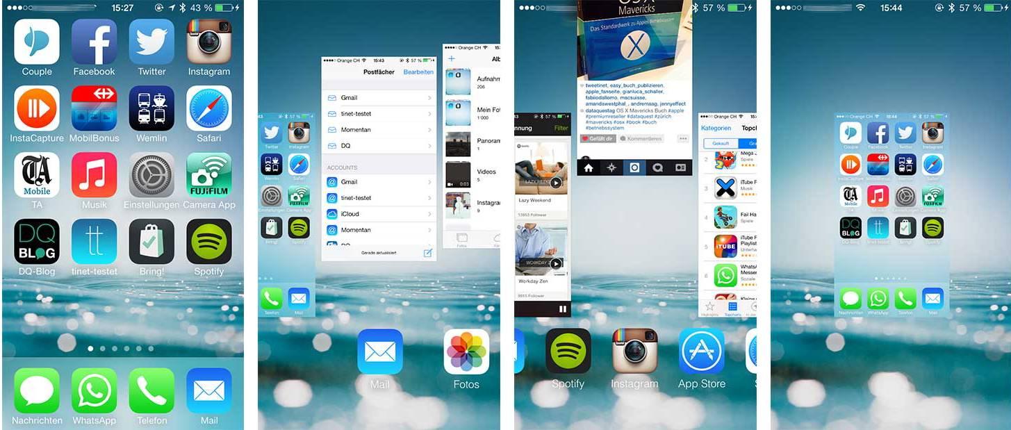 Anleitung zum Schliessen von Apps anhand von vier Screenshots