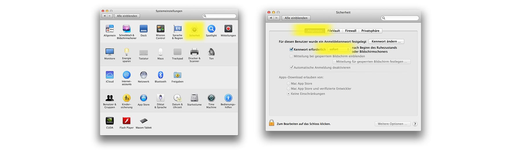 Anleitung zum Setzen eines Passwortes anhand von Screenshots