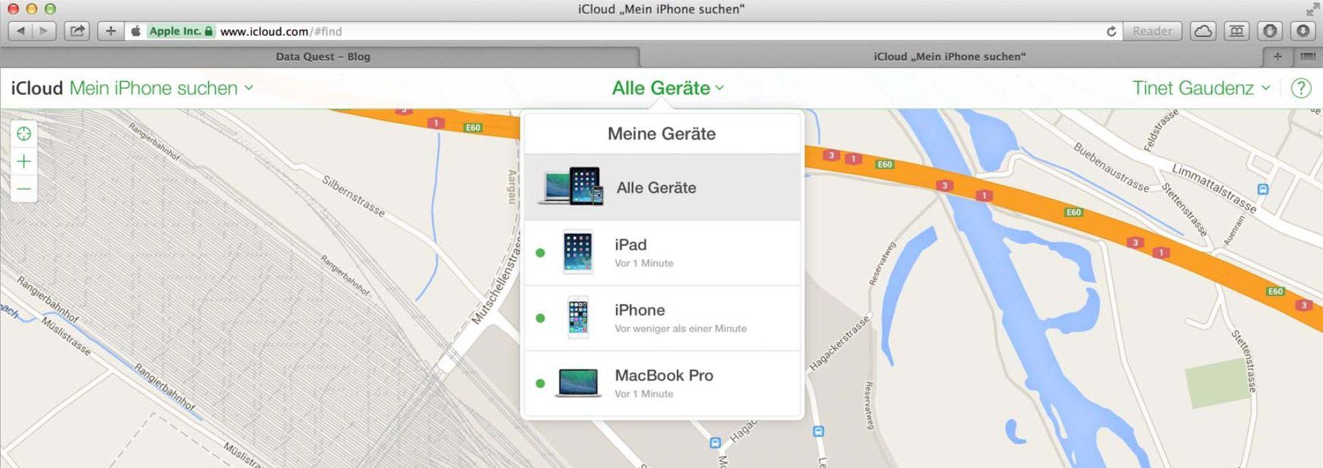 Das Bild zeigt, wo in den Einstellungen der iCloud die Suchfunktion für Geräte aktiviert wird.