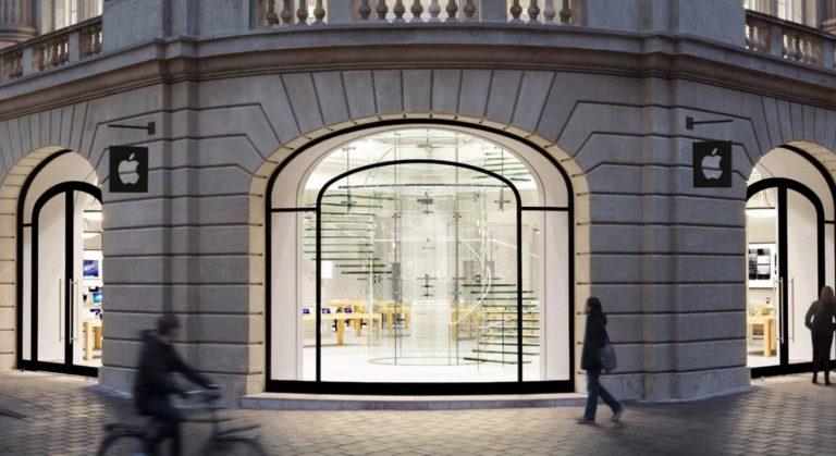 Ansicht von draussen des Apple Stores in Amsterdam, die den Stil des Ladens zeigt.