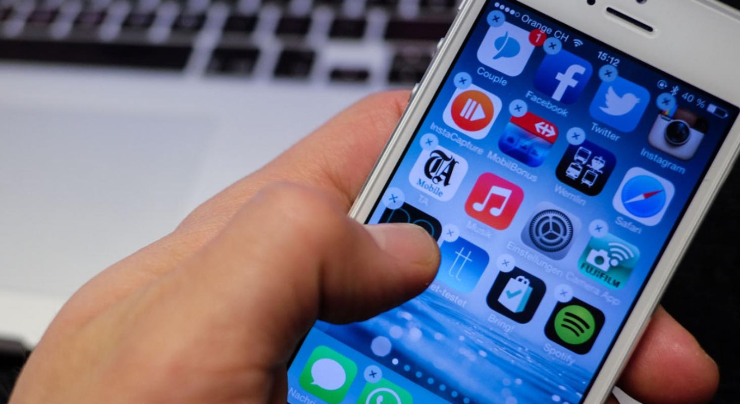 Das Bild gibt einen Eindruck von den Apps auf dem iPhone, die sortiert werden sollen.