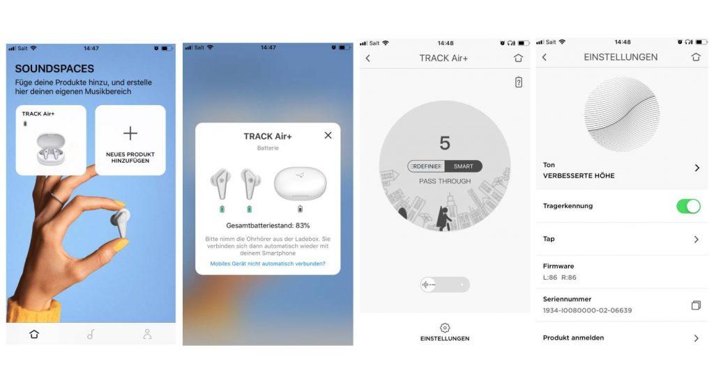 Verschiedene Bildschirmansichten in der App von Libratone (Bildschirmfotos vom iPhone)