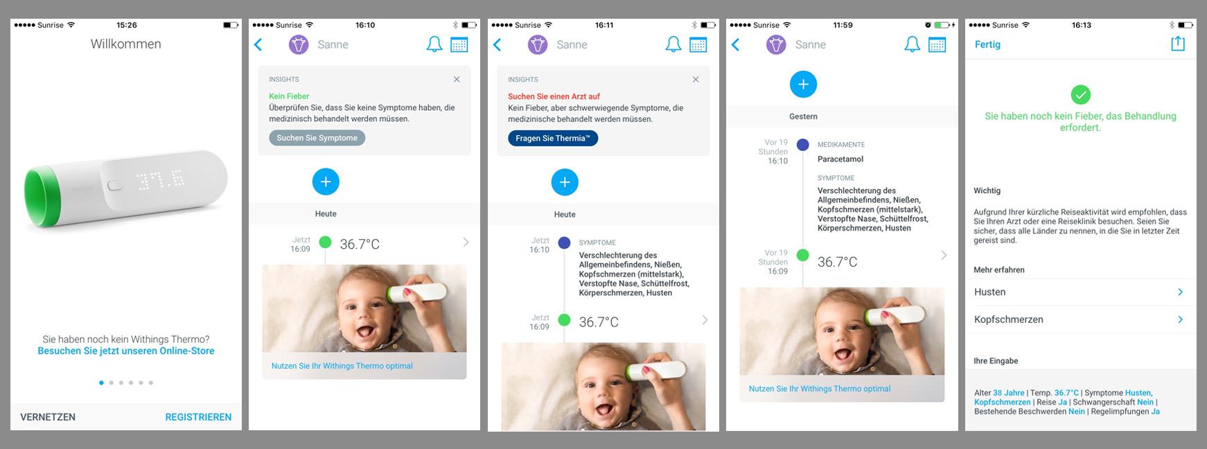 Abgebildet sind eine Reihen von Screenshots, welche die Funktion des Mobile Apps bildlich darstellen.