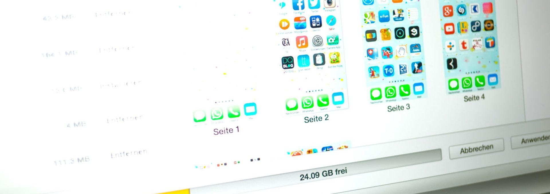 Das Bild veranschaulicht die Seiten vom iPhone Menü mit vielen Apps.