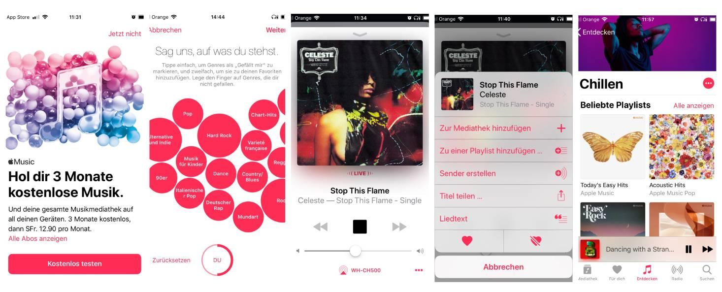 Eine Reihe von Screenshots veranschaulicht, wie die Funktionen in der App aussehen.