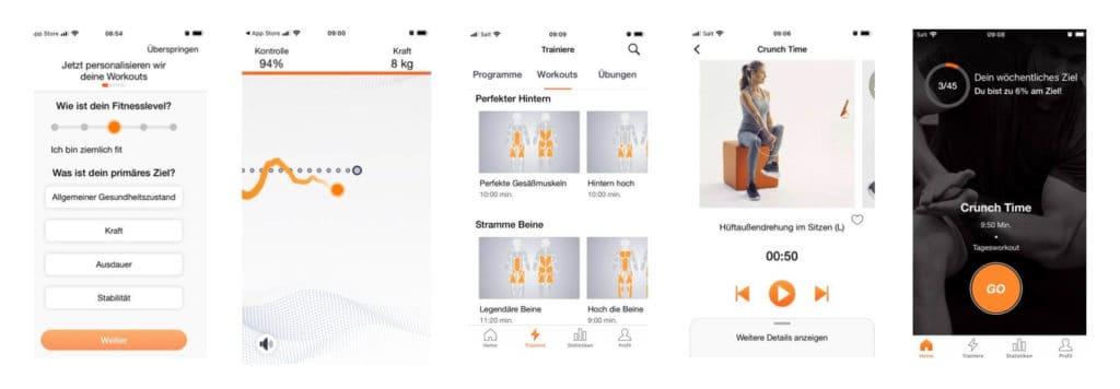 Die Active5 App bietet viele verschiedene Trainings