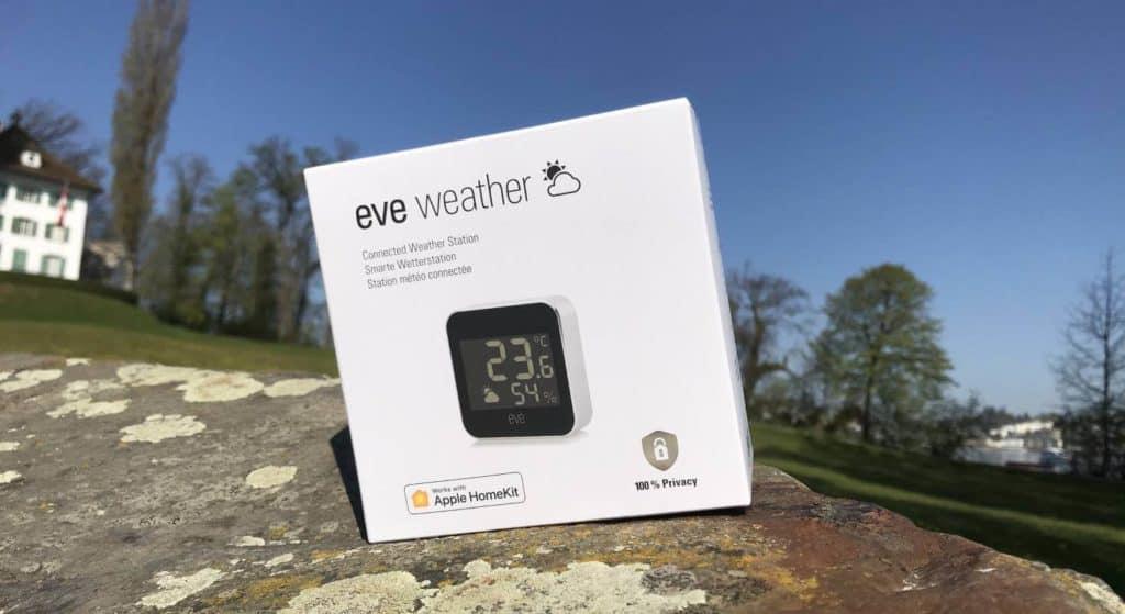 Smarte Wetterstation Eve Weather mit Verpackung