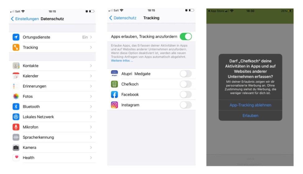 Einstellungen - App Tracking Transparenz erlauben oder ablehnen