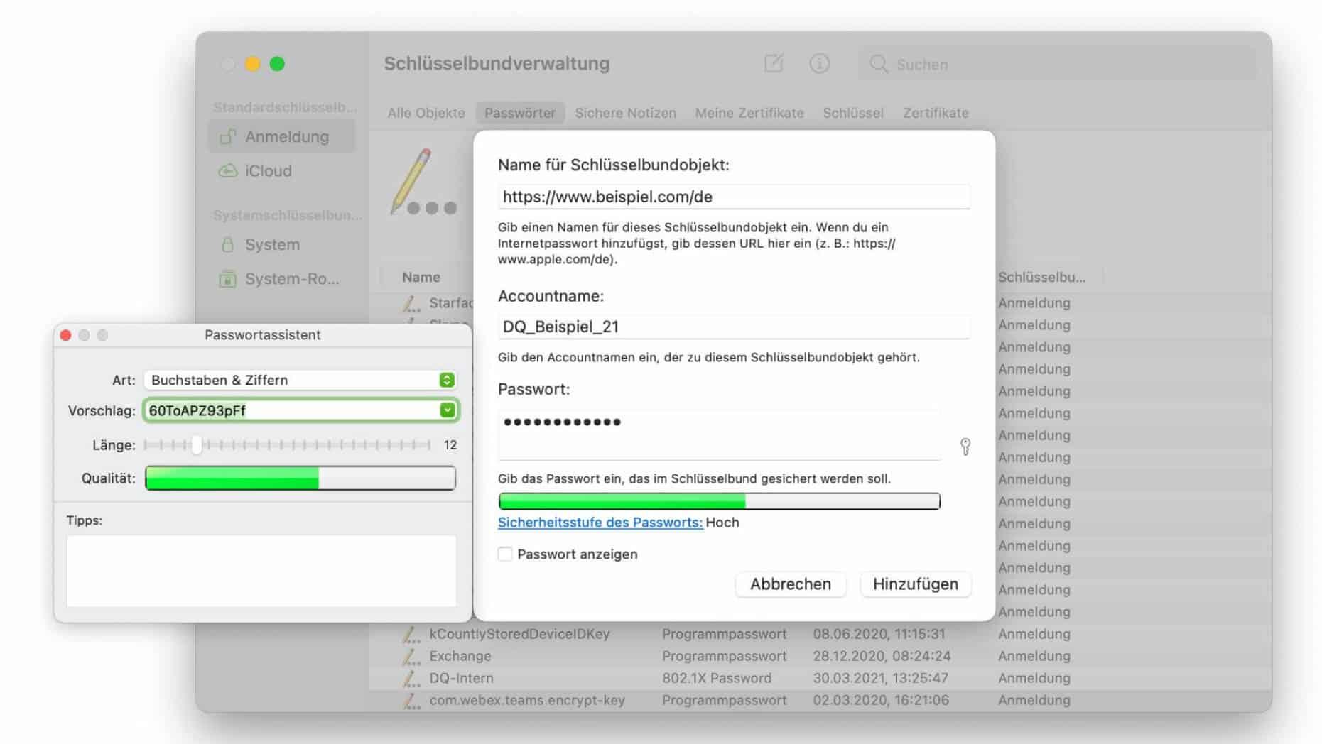 Passwort generieren in der Schlüsselbundverwaltung