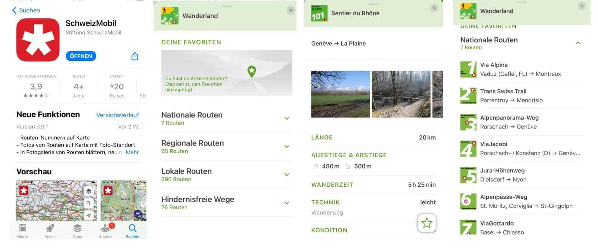 Wander App Wanderland für die Schweiz