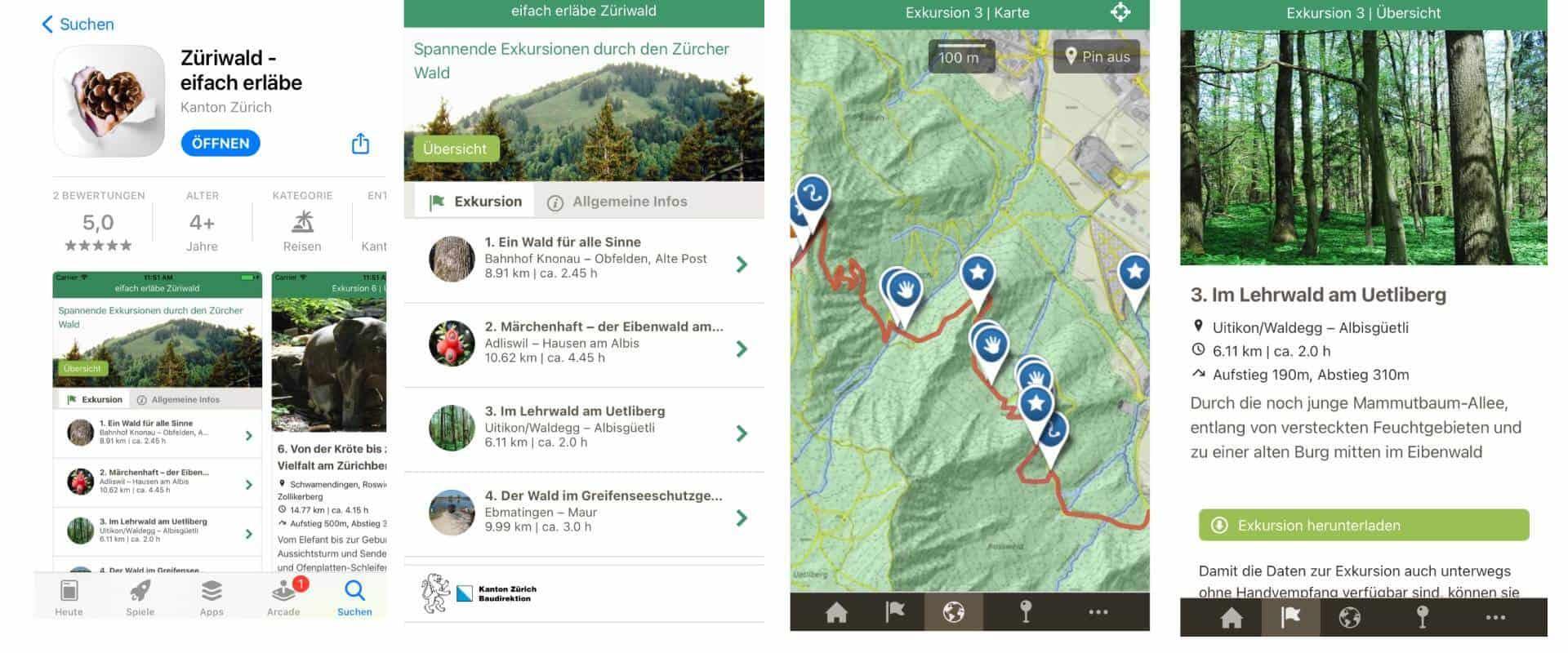 Wander App Züri Wald für Familien